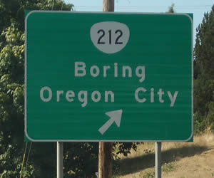 Boring Oregon Road Sign
